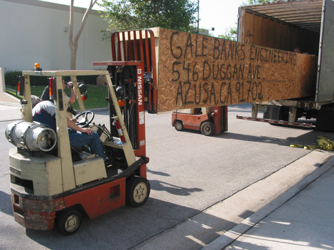 Crated diesel dragster arrives on June 17, 2008