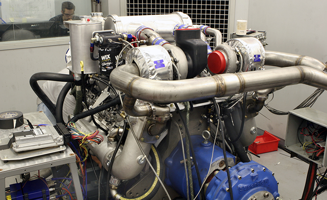 Banks Marine Engine in the dyno cel