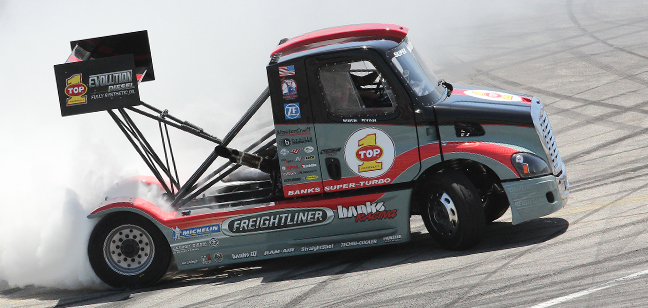 Mike Ryan's Banks Super-Turbo Freightliner doing shakedown testing at Irwindale Speedway before heading out to Colorado to compete in the 2013 Pikes Peak International Hill Climb.