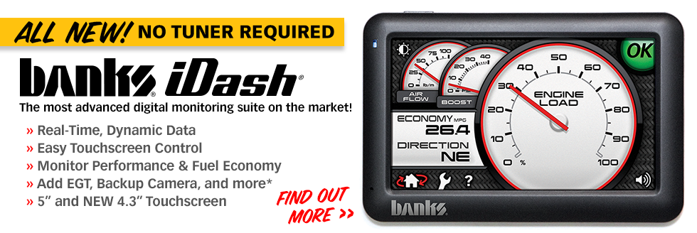 "Banks iDash Digital Gauge"" border="