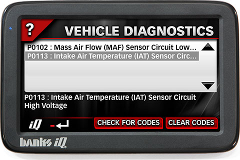 Banks iQ Diagnostics screen