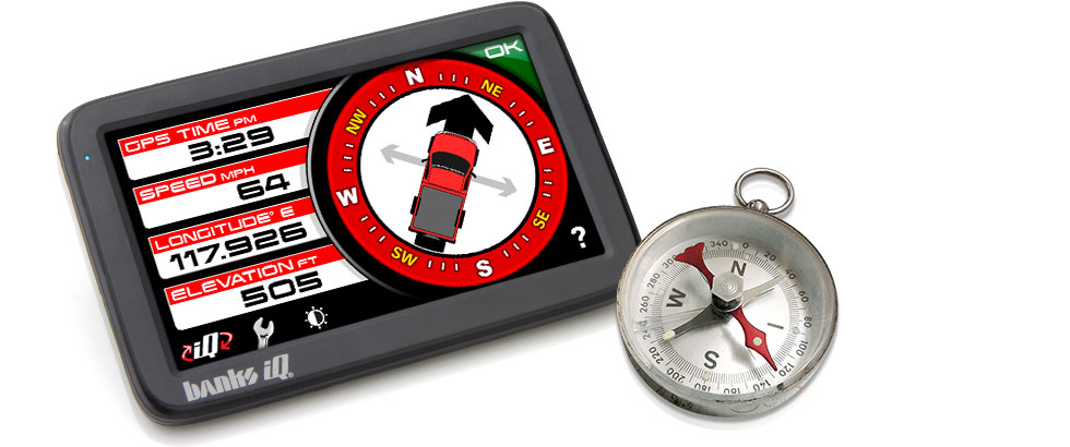 Banks iQ has built-in compass capabilities using it's enhanced GPS capabilities