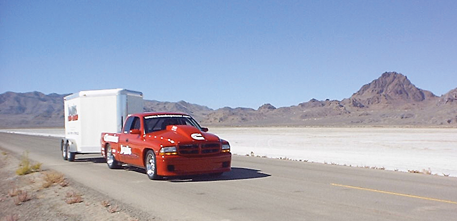 After day and night thrashing to get ready, Project Sidewinder rolled onto the Salt on October 17, 2002, not on a trailer, but towing its own spare parts trailer, and promptly exceeded the existing diesel pickup Land Speed Record of 159.647 MPH on its first two qualifying runs - and that was just the beginning.