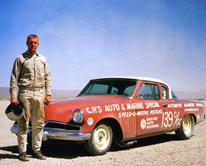 Gale Banks and his Studebaker at El Mirage in 1958