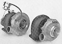 The turbocharger pictured on the left is equipped with a wastegate that limits the maximum boost pressure.