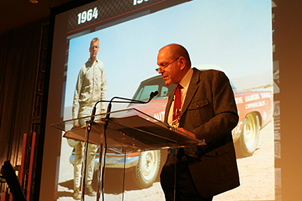 Gale Banks delivers the keynote address at Ward's Top 10 Engines of 2009 awards show.