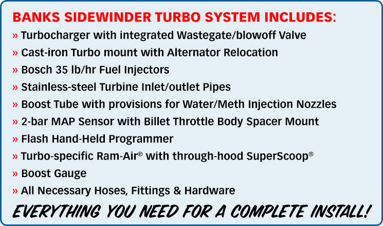 Banks Sidewinder Turbo System includes: